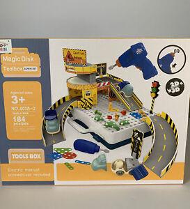 Electric Drill Kids Toolbox Screw Set Puzzle, 184 pcs - 3D Building Car Garage