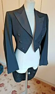 """Vintage 1930s black wool tailcoat Hector Powe dated 1937 chest 36"""" formal wear"""