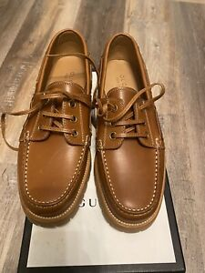Gucci Pacific Leather Lug Sole Deck Boat Shoes Loafers 9.5G/10 US Mens