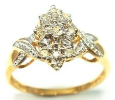 SYJEWELLERY 9CT SOLID YELLOW GOLD NATURAL DIAMONDS RING    SIZE N      R912