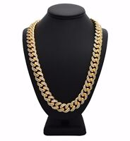 Men's Miami Cuban Chain Link Micro pave 18K Gold Plated Necklace