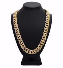 Iced Out Miami Cuban Chain Link Micro pave 18K Gold Plated Men Necklace