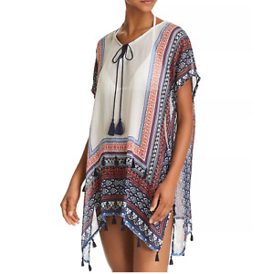 SURF GYPSY V-Neck Tunic Swim Cover-Up Multi Tropical Size M #A5207