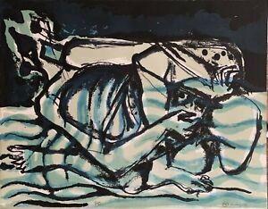 LUCIANO MINGUZZI litografia 1971 Zodiaco Acquario 63x47 firmata numerata 5/99