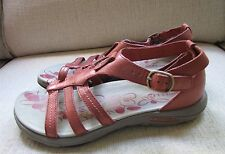 Women's Merrell Cantor Lavish Red Ochre Leather  Sandals Shoes Size 7