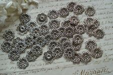 1 VINTAGE FRENCH SILVER FILIGREE FLOWER SEQUINS BEADS JEWELRY CABOSHONS SEW ONS