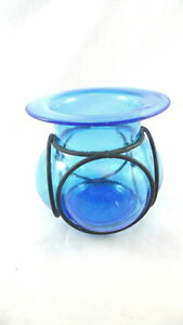 Blue Glass Lantern-Style Candleholder With Wrought Iron