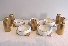 5 FOOTED OPEN SALT CELLARS DIPS VIENNA AUSTRIA 7 INDIVIDUAL GOLD  SALT SHAKERS