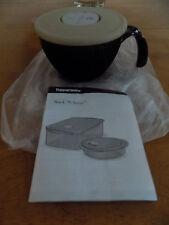 NEW~Tupperware RockNServe Soup Mug W/Vent~Microwaveable-Hazelnut/Black