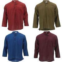 Mens Grandad Shirt Kurta Collar Collarless Long Sleeve Plain Cotton