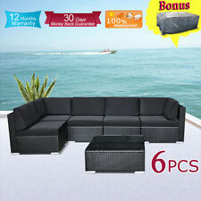 Wicker Rattan Garden Set Indoor Outdoor Sofa Lounge couch Setting Furniture 6Pcs