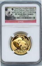 2012 GOLD 1/2 OZ PANDA SINGAPORE COIN FAIR NGC PROOF 70 ULTRA CAMEO W/BOX & COA!