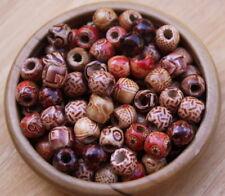 15 (mini) Wooden Dreadlock Hair Beads 5mm Hole (3/16 Inch) + FREE Dread Ring