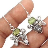 Moldavite & Herkimer Diamond 925 Sterling Silver Earrings Jewelry EE171562