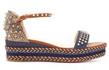 Christian Louboutin Madmonica 60 Blue Denim Spike Platform Wedge Sandal Heel 41