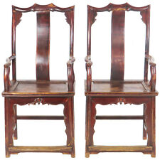 Bon Pair Of Antique Chinese High Back Elm Armchair Red Lacquer, Antique Asian  Chair