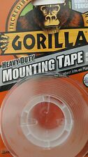 GORILLA  HEAVY DUTY  mounting Tape25.4mm x1.52m Clear tough double sided Tape