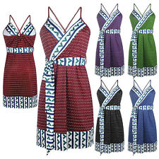 Pregnant Women Strappy Cami Dress Maternity Sleeveless Geometry Pattern Clothes