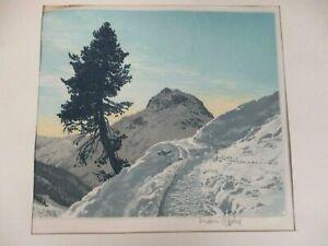 SIGNED HANS FIGURA ETCHING ON SILK OMESHORN NEAR LECH ON THE ARLBERG AUSTRIA