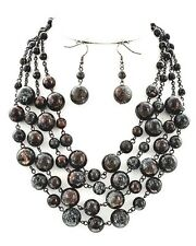 Rustic Blue Patina Copper Bead & Chain Rosary 5 Strand Necklace Jewelry Set