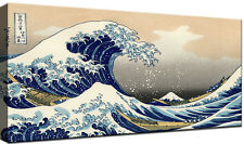 Hokusai La grande Onda Quadro stampa su tela cm 100x50 Quadri Moderni XXL Arte