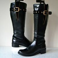 "CLARK`S ""KARAOKE TUNE"" BLACK HI-GLOSS LEATHER KNEE HIGH BOOTS UK 4.5D RRP £110"