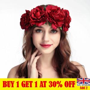 Women Rose Flower Crown Headband Garland Festival Wedding Party Hairband CA