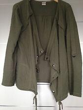 Drape-Sweatjacke Khaki/Grün mit Nieten von Object Gr. M