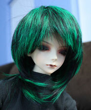 Doll Wig Short Layered Black, Green BJD Ball Jointed Size 7, 8, 9, 10 NEW