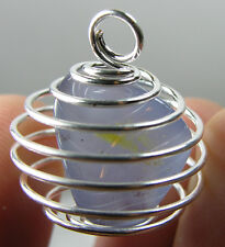 Namibia 100% Natural Tumbled Rough Chalcedony Crystal In Spiral Cage Pendant