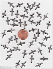 LOT OF 100  SILVER TONE MINI RELIGIOUS  CROSS METAL CHARMS.- U.S. SELLER  - C37
