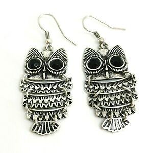 Large Dangle Owl Earrings Retro topshop. silver and black