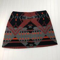 GAP Wool Aztec Tribal Mini Skirt Women's Gray Red Orange Black Size 10