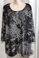 Womens JM Collection Black Silver Dressy Sparkle Formal Top Blouse 2x 3x Plus