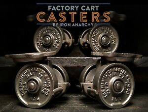 ANTIQUE INDUSTRIAL CASTERS, Vtg Factory Cart Coffee Table Cast Iron Metal Wheel