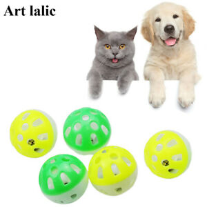 PLASTIC CAT KITTEN PLAY BALLS WITH JINGLE BELL ASSORTED COLOURS 10 BALLS