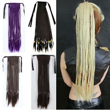 Women Multi-Colors Ponytail Hair Clip-In Extension Hairpieces Long Weave Braided