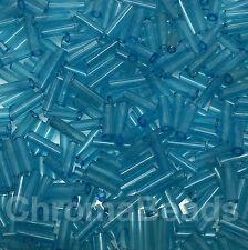 50g glass bugle beads - Aqua Transparent - approx 6mm tubes, jewellery making