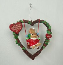 Christmas Ornament Our First Christmas Together 1989 Vintage Heart Chipmunks