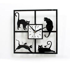 Black Kitty Cat Wall Clock 11'' kit Creative Coffee Kitchen Quartz Watch