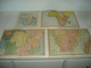 Lot of 4 Antique Maps Americana Co 1903 Africa Colorful  Rand McNally Political