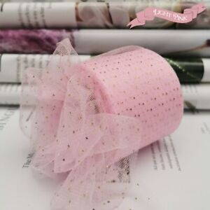 6cm 25Yards Golden Dotted Tulle Glitter Sequin Ribbon Organza Sparkling Mesh