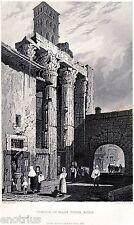 Roma: Tempio di Marte Ultore. Prout. Acciaio. Stampa Antica + Passepartout. 1838