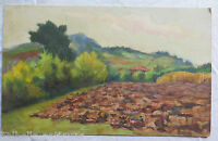 Landscape Countryside with Campi Farm Garden Painting Oil on board 16 7/8x10 5/