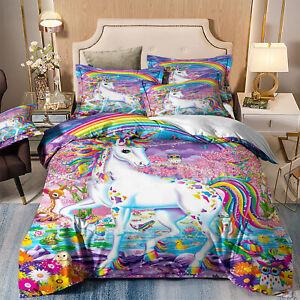 Kids Soft Duvet Cover Set Twin/Queen/King Size Comforter Cover Unicorn Pillowcas