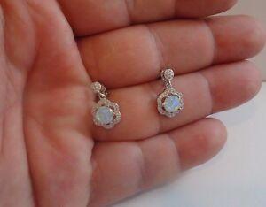 925 STERLING SILVER DROP DANGLE STUD POST EARRINGS W/ 2.50 CT OPAL /DIAMONDS