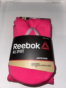 Reebok All Sport Youth Socks - Pink - Moisture Wicking - Small 13-4 Youth