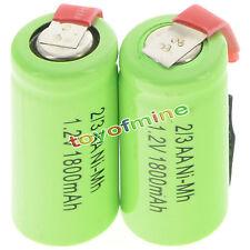 2 pezzi 2/3AA 1.2V 1800mAh Ni-MH ricaricabile batteria