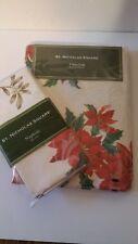 "St. Nicholas Square Tablecloth Poinsettia Season Oval 60x84"" AND 4 Napkins! NEW"