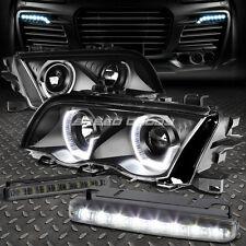 BLACK PROJECTOR HEADLIGHT+LED CORNER+8 LED SMOKE FOG LIGHT FOR 99-01 BMW E46